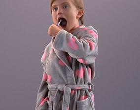 3D model Pre-posed little girl brushing her teeth