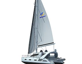 White Sailing Yacht 3D model