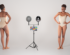 FREE DOWNLOAD Sexy young woman in beige 3D asset 3