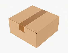 3D Box sealed with packing tape mockup 04