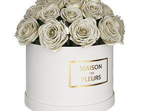 3D White roses in box