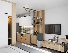 3D Small Apartment Scandinavian Design