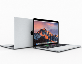 3D model 2018 macbook pro touch bar low-poly game asset