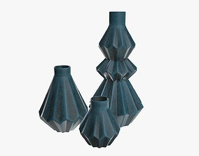 3D model Stone vases shelf decoration