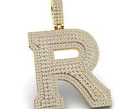 Custom 3D Initial R Letter Pendant printable