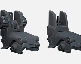 Adjustable Folding Iron Sights 3D asset
