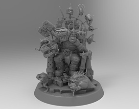 Warboss seated on a throne 3D print model
