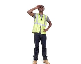 Worker with Yellow Vest and White Helmet 3D model