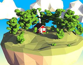3D asset Low Poly Ash Tree Set