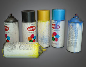 3D asset Old Spray Paint Cans TLS - PBR Game Ready