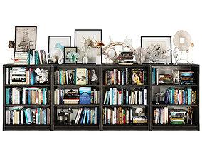 Dark bookshelf set 3D