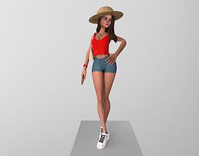 Woman Posing rigged 3D asset