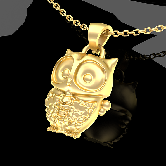 Baby Owl Pendant Jewelry Gold 3D print model
