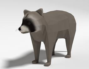 3D asset Low Poly Cartoon Raccoon