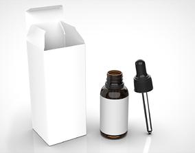 Glass Bottle Dropper with Box - 30ml 3D model