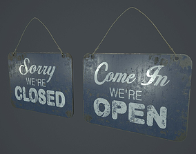 3D model Old Open And Close Sign PBR Game Ready