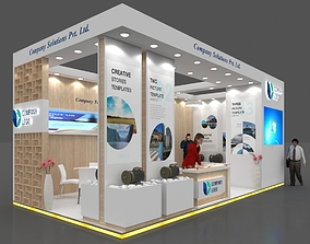 Exhibition stall 3d model 8x4 mtr 2 sides open Booth