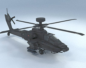 3D model VR / AR ready Apache Helicopter