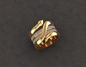 3D print model snake ring sterling