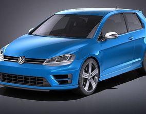 3D Volkswagen Golf VII R 2014 VRAY