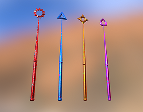 3D asset game-ready Magic Wands