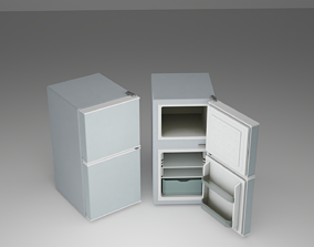 mini refrigerator 3d model game-ready