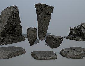 cliff rock set 3D asset VR / AR ready