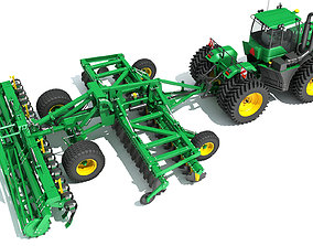 field 3D Tractor with Seed Drill