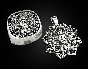 3D model Set Ganesha pendant and ring