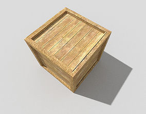 low poly wooden crate 3D model game-ready
