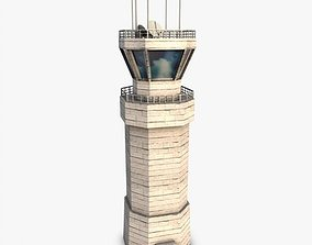 3D Low poly airbase control tower