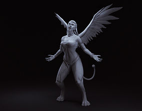 3D printable model woman with wings