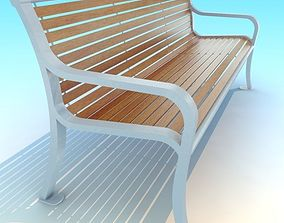 3D asset skinny wood white metal park Bench