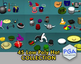 45 Low poly hats 3D model