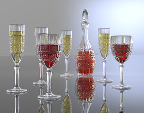 3D Drink crystal glass stemwares and bottle bohemia