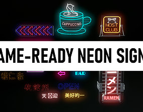 Pack of Neon Signs GAME-READY 3D asset
