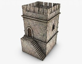 Crenelated Castle Tower 3D