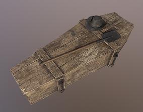 3D asset Wild West Wooden coffin Shovel and Hat