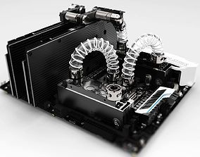 3D Water Cooled PC Motherboard Assembly