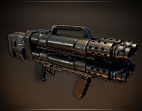 3D asset Lowpoly PBR Quad Barrel Shotgun
