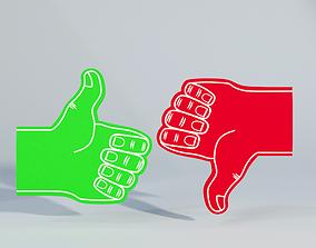 Sample Like and Dislike Foam Finger 2 3D model
