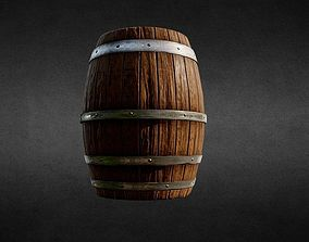 3D model game-ready Low Poly Wooden Barrel for game
