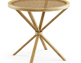 Wooden rattan coffee table 3D model