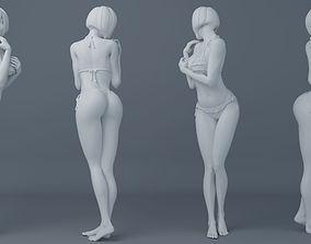 Short hair student girl wearing bikini 3D printable model