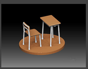 SCHOOL CLASSROOM DESK CHAIR SET FOR 3D printable model 2