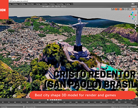 Large map of Cristo Redentor San Paolo BRASIL 3D asset 1
