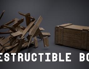 3D asset Destructible Wooden Box - Game Ready
