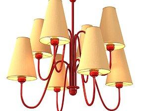 Custom made 8 lamp chandelier with red frame 3D model