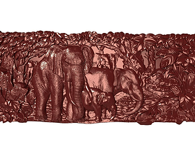 3D printable model Elephants family Bas relief for CNC