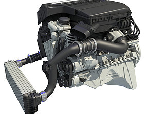 3D model Turbo Straight Six-cylinder Petrol Engine